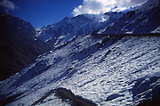 Snow capped mountain peaks in the Jebel Toubkal range, Atlas mountains, near Imlil, Morooco