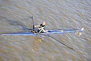London, Great Britain, Julie DEACON, W Vet C 1X. Maidenhead RC. passes under Chiswick bridge at the start of the 2009 Scullers Head of the River Race, raced over the Championship Course, Mortlake to Putney, on the River Thames. 13:36:59, Saturday 28/11/2009,  [Mandatory Credit: © Peter Spurrier/Intersport Images]