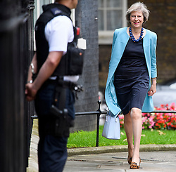 © Licensed to London News Pictures. 27/06/2016. London, UK. Home secretary THERESA MAY MP arrives at number 10 Downing street in London,  for the first government cabinet meeting after the UK voted to leave the EU in a referendum. Photo credit: Ben Cawthra/LNP