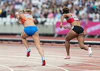 Athletics - 2017 IAAF London World Athletics Championships - Day Two (AM Session)<br /> <br /> Event: 100 Metres Women - Heat 4<br /> <br /> Rear view of Dafne Schippers (NED) and Salome Kora (SUI) launch from their blocks <br /> <br /> COLORSPORT/DANIEL BEARHAM