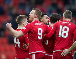 Aberdeen's Rooney celebrates after scoring their first goal. <br /> half time : St Johnstone 0 v 2 Aberdeen, SPFL Ladbrokes Premiership played 6/2/2016 at McDiarmid Park, Perth.