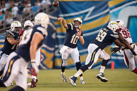 28 August 2014: San Diego Chargers QB Kellen Clemens (10) passes during the NFL American Football Herren USA preseason game between the San Diego Chargers and the Arizona Cardinals at Qualcomm Stadium in San Diego, CA. NFL American Football Herren USA AUG 28 Preseason - Cardinals at Chargers PUBLICATIONxINxGERxSUIxAUTxHUNxRUSxSWExNORxONLY Icon140828005<br /> <br /> 28 August 2014 San Diego Chargers QB Kellen Clemens 10 Pass during The NFL American Football men USA Preseason Game between The San Diego Chargers and The Arizona Cardinals AT Qualcomm Stage in San Diego Approx NFL American Football men USA Aug 28 Preseason Cardinals AT Chargers PUBLICATIONxINxGERxSUIxAUTxHUNxRUSxSWExNORxONLY