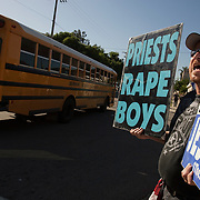 Members of the Westboro Baptist Church demonstrate in Los Angeles. Picketing Theodore Roosevelt High School