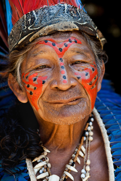 Amazon; Amazonia; Amazonas; Brasil; Brazil; Indian; Dessano Tribe; Tupe Community; Manaus; ethnic; colorful; feather; paint; look; healthy