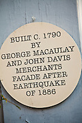 Historic earthquake marker on a Broad Street building Charleston, SC.