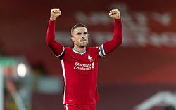 LIVERPOOL, ENGLAND - Wednesday, December 16, 2020: Liverpool's captain Jordan Henderson celebrates at the final whistle during the FA Premier League match between Liverpool FC and Tottenham Hotspur FC at Anfield. Liverpool won 2-1. (Pic by David Rawcliffe/Propaganda)