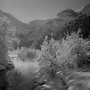 Winter landscape in the Swiss alps.<br /> <br /> (Analog black and white image. Scan from manually developed negative.)