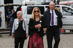 © Licensed to London News Pictures. 16/06/2017. Birstall, UK. Jo Cox's mother Jean Leadbeater, father Gordon Leadbeater and sister Kim Leadbeater arrive in Birstall town square where the Labour MP was murdered a year ago today. Events are planned to take place across the country this weekend in memory of Jo Cox in what is being called 'The Great Get Together'. Credit: Ian Hinchliffe Photo credit : Ian Hinchliffe/LNP