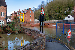 © Licensed to London News Pictures. 26/02/2020. Ironbridge, UK. Water around houses in Ironbridge as flood defences were breached on part of the River Severn as levels continued to rise police evacuated part of the town. Photo credit: Peter Manning/LNP