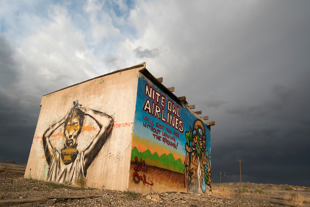 Graffiti covered building at the Coaldale ghost town in Nevada.