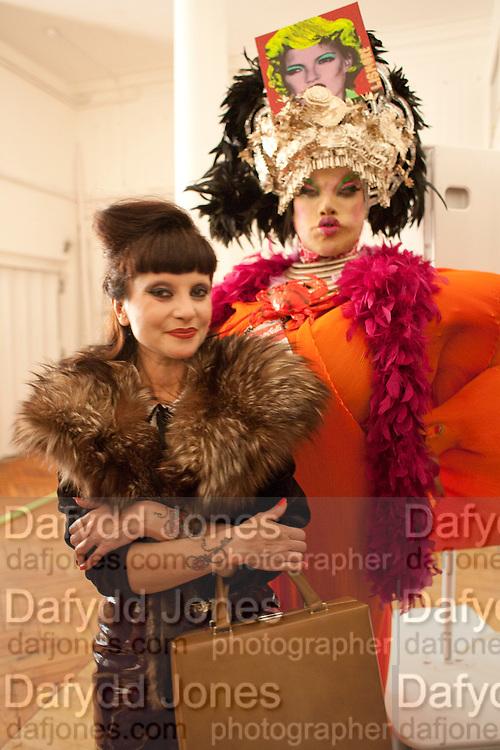 MISS JULIA; DANIEL LISMORE 30 Years Of i-D - book launch. Q Book 5-8 Lower John Street, London . 4 November 2010. -DO NOT ARCHIVE-© Copyright Photograph by Dafydd Jones. 248 Clapham Rd. London SW9 0PZ. Tel 0207 820 0771. www.dafjones.com.