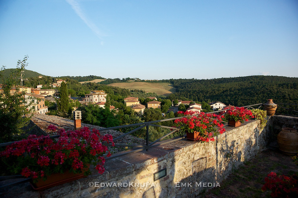 View from restaurant in Trequanda, Tuscany.