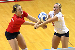 28 AUG 2009: Kasey Mollerus and Jenny Menendez go for the same ball. The Redbirds of Illinois State defeated the Runnin' Bulldogs of Gardner-Webb in 3 sets during play in the Redbird Classic on Doug Collins Court inside Redbird Arena in Normal Illinois