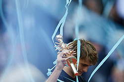 May 13, 2018 - Madrid, Madrid, Spain - Alexander Zverev of Germany holds the trophy after winning the tournament in his final match against Dominic Thiem of Austria during day nine of the Mutua Madrid Open tennis tournament at the Caja Magica on May 13, 2018 in Madrid, Spain  (Credit Image: © David Aliaga/NurPhoto via ZUMA Press)
