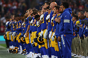 LA Rams players during the nation anthem at the NFL game between Cincinnati Bengals and LA Rams at Wembley Stadium in London, United Kingdom. 27 October 2019