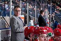 KELOWNA, BC - MARCH 13: Spokane Chiefs' head coach Dan Lambert stands on the bench against the Kelowna Rockets at Prospera Place on March 13, 2019 in Kelowna, Canada. (Photo by Marissa Baecker/Getty Images)