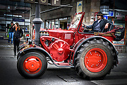 Vintage tractor on market day, Photographed in Bavaria, Germany