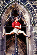 Johnny Dawes climbing on the ruined church off Cemetary Road in Sheffield.