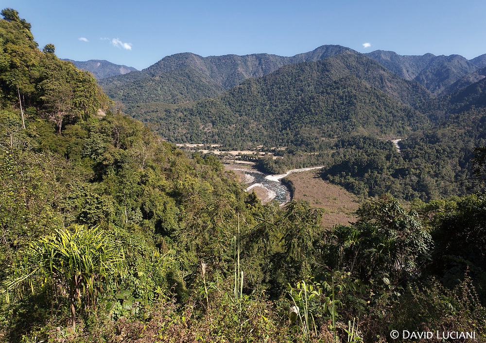 View on a valley and its river between Pongging and Jeru, located in Upper Siang District.