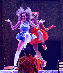 The Mad Hatter's Tea Party <br /> by Zoo Nation<br /> directed by Kate Prince<br /> presented by Zoo Nation, The Roundhouse & The Royal Opera House<br /> at The Roundhouse, London, Great Britain <br /> rehearsal <br /> 29th December 2016 <br /> <br /> <br /> <br /> <br /> Teneisha Bonner as The Queen of Hearts <br /> <br /> Kayla Lomas-Kirton as Alice <br /> <br /> <br /> <br /> Photograph by Elliott Franks <br /> Image licensed to Elliott Franks Photography Services