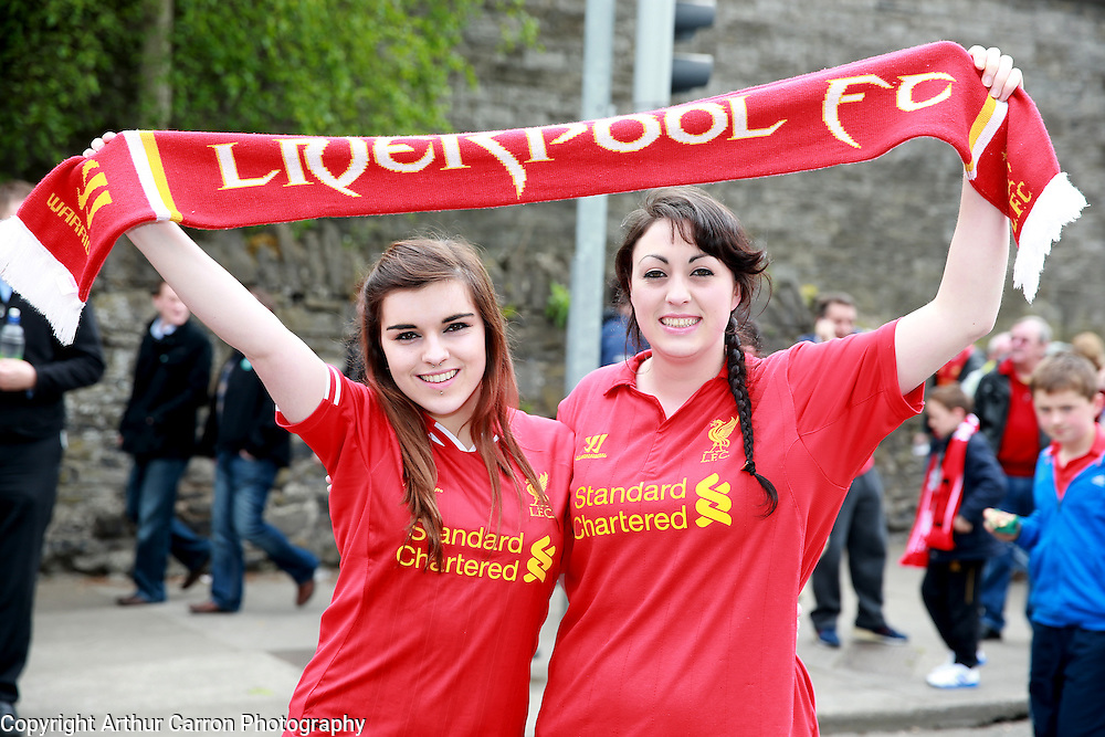 14/5/14 Fans Jolene Tidy and Christina Poynton, Cavan on their way to see the friendly game between Liverpool FC and Shamrock Rovers at the Aviva stadium in Dublin. Picture:Arthur Carron