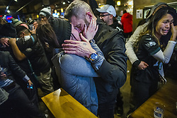 February 4, 2018 - Minneapolis, MN, USA - Angie Ersberg said ''yes'' to boyfriend Timothy Folds' proposal at the Blarney Pub and Grill during Super Bowl LII on Sunday, Feb. 4, 2018, in Minneapolis, Minn. The two are from Fort Wayne, Ind. (Credit Image: © Richard Tsong-Taatarii/TNS via ZUMA Wire)