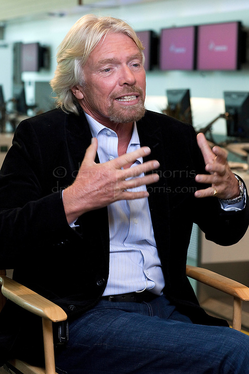 Sir Richard Branson, founder of Virgin Group Limited, speaks during a Bloomberg Television interview in the new Terminal 2 at the San Francisco International Airport in San Francisco, California, U.S., on Wednesday April 6, 2011. Photographer: David Paul Morris/Bloomberg