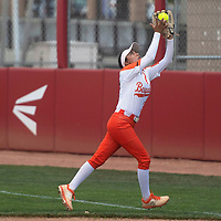 Gallup second baseman Katherine Lincoln makes a running catch near the first base foul line during their NMAA Class 4A Softball State Championship game against the Artesia Bulldogs Saturday in Albuquerque.