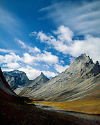 Gates of the Arctic National Park, AK, USA.<br /> Arrigetch Peaks Range. Arrigetch Creek.<br /> Granite walls and arctic tundra in the fall.