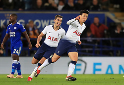 Tottenham Hotspur's Son Heung-min (right) celebrates scoring his side's first goal of the game