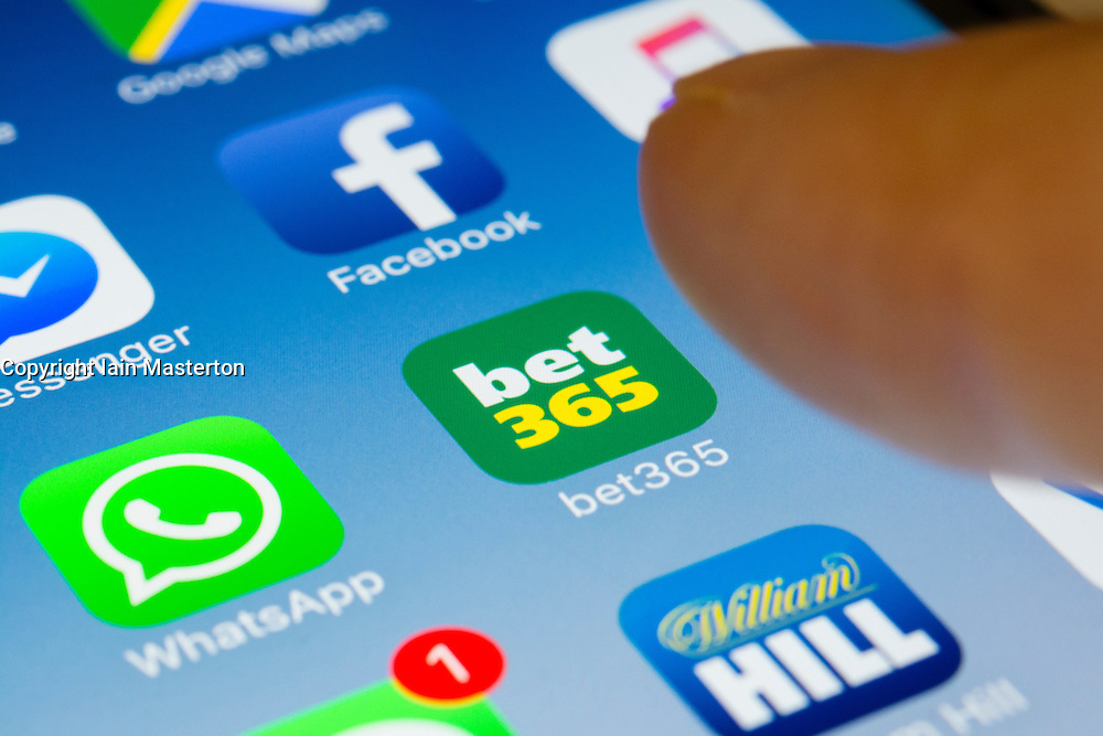 Bet 365 online betting app close up on iPhone smart phone screen