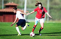 Fotball , 17. januar 2014 , privatkamp , damer , England - Norge<br /> England - Norway  , Woman<br /> Caroline Graham Hansen , Norge<br /> Demi Stokes , England