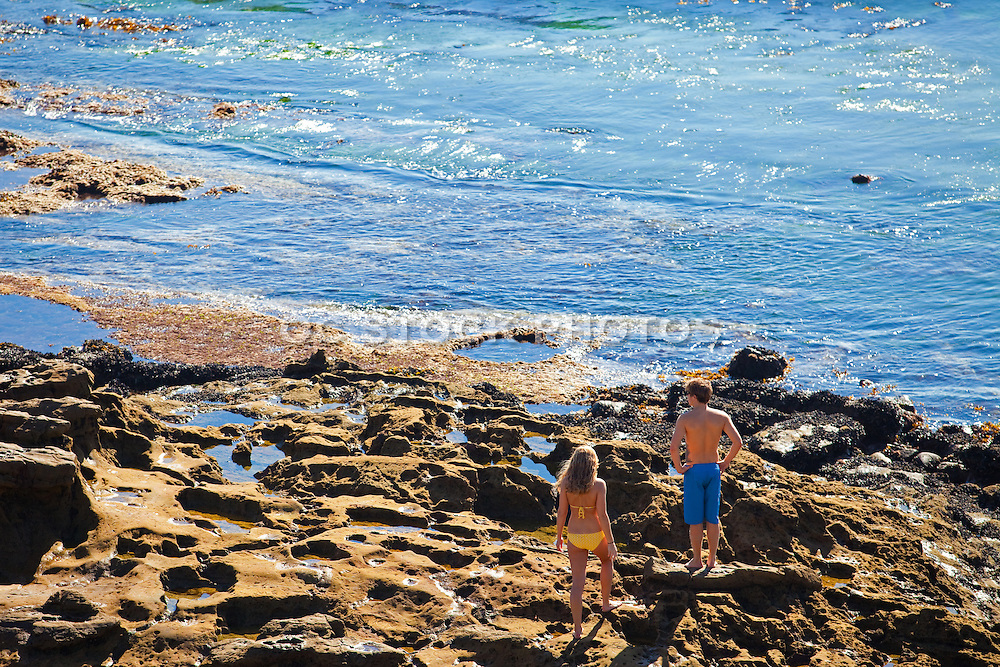 Young Couple at the Tide Pools in Laguna Beach California