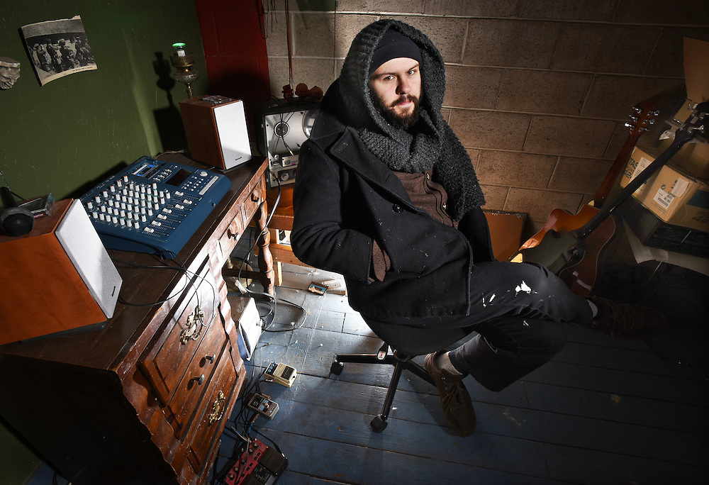 """Photo by Mara Lavitt -- Special to the Hartford Courant<br /> January 13, 2016<br /> Meriden<br /> Musician Greg Fraulo of Meriden in his music studio with his tape-loop recorder. Fraulo says, """"I use the studio as my instrument."""""""