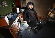 "Photo by Mara Lavitt -- Special to the Hartford Courant<br /> January 13, 2016<br /> Meriden<br /> Musician Greg Fraulo of Meriden in his music studio with his tape-loop recorder. Fraulo says, ""I use the studio as my instrument."""