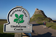 Lindisfarne National trust Castle on Holy Island, on 27th June 2019, on Lindisfarne Island, Northumberland, England. The Holy Island of Lindisfarne, also known simply as Holy Island, is an island off the northeast coast of England. Holy Island has a recorded history from the 6th century AD; it was an important centre of Celtic and Anglo-saxon Christianity. After the Viking invasions and the Norman conquest of England, a priory was re-established.