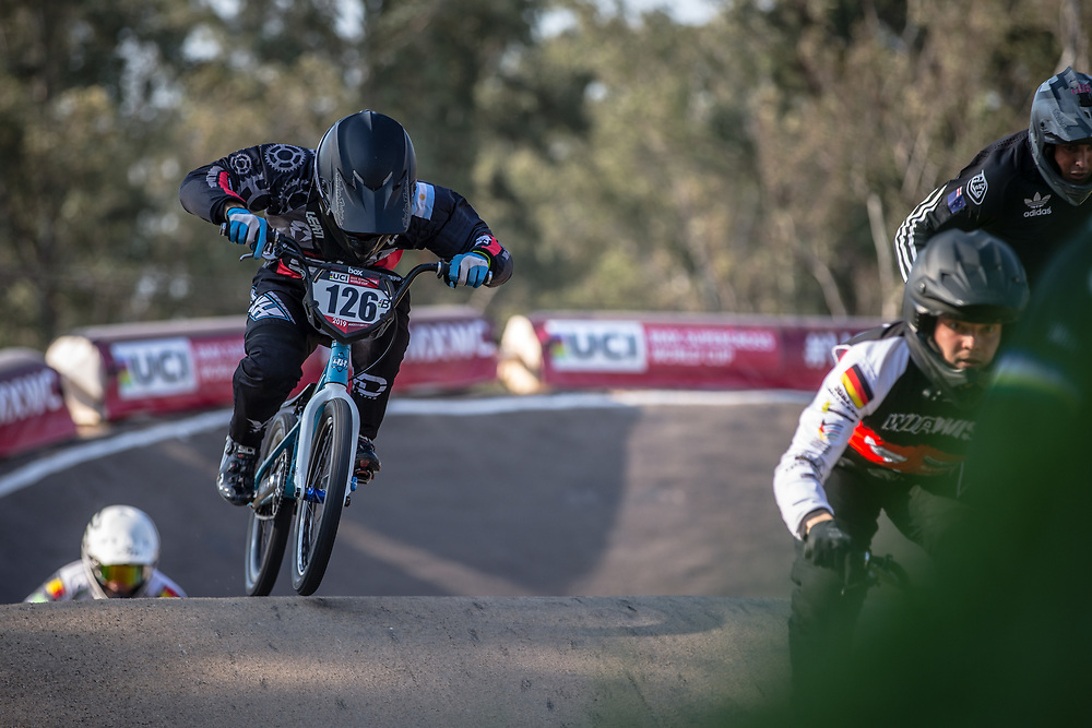 #126 (DE LA FUENTE Emiliano) ARG at Round 10 of the 2019 UCI BMX Supercross World Cup in Santiago del Estero, Argentina