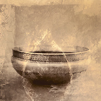 """Mixed medium art photograph of a weathered metal bowl from India with painted overlay. """"Yoga is for every body"""". Ganga White"""
