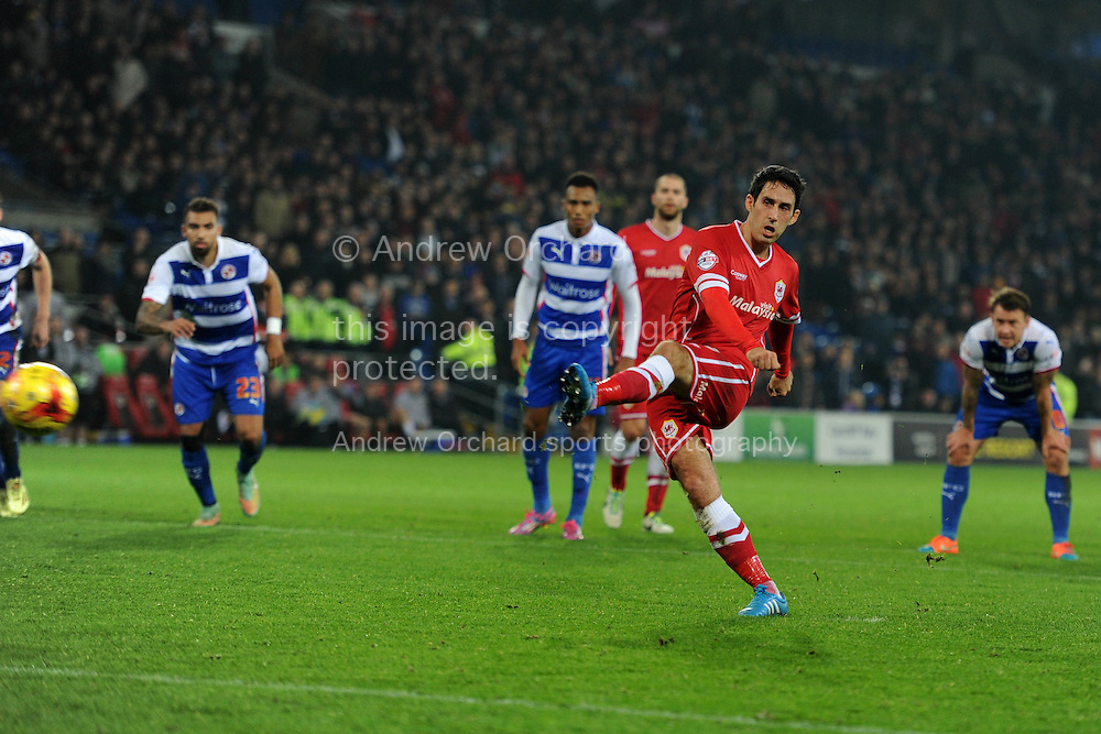 Peter Whittingham of Cardiff city (7) scores his teams 2nd goal from the penalty spot. Skybet football league championship match, Cardiff city v Reading at the Cardiff city stadium in Cardiff, South Wales on Friday 21st November 2014<br /> pic by Andrew Orchard, Andrew Orchard sports photography.