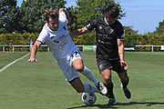 Auckland City FC's Andrew Blake and Hawke's Bay United's Gavin Hoy tangle in the Handa Premiership football match, Hawke's Bay United v Auckland City FC, Bluewater Stadium, Napier, Sunday, January 31, 2021. Copyright photo: Kerry Marshall / www.photosport.nz