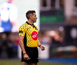 Referee Robert Hicks<br /> <br /> Photographer Simon King/Replay Images<br /> <br /> Guinness PRO14 Round 2 - Cardiff Blues v Edinburgh - Saturday 5th October 2019 -Cardiff Arms Park - Cardiff<br /> <br /> World Copyright © Replay Images . All rights reserved. info@replayimages.co.uk - http://replayimages.co.uk