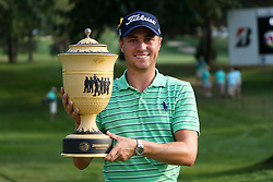 August 5, 2018 - Akron, Ohio, United States - Justin Thomas holds the trophy after winning the WGC-Bridgestone Invitational at Firestone Country Club. (Credit Image: © Debby Wong via ZUMA Wire)