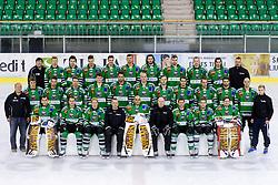 Team photo at official photo shooting of team HDD Olimpija Ljubljana for Season 2014 / 15 on September 10, 2014 in Hala Tivoli, Ljubljana, Slovenia. Photo by Matic Klansek Velej / Sportida