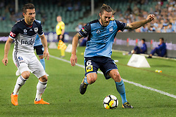 April 13, 2018 - Sydney, NSW, U.S. - SYDNEY, NSW - APRIL 13: Sydney FC midfielder Joshua Brillante (6) keeps the ball in play at the A-League Soccer Match between Sydney FC and Melbourne Victory on April 13, 2018 at Allianz Stadium in Sydney, Australia. (Photo by Speed Media/Icon Sportswire) (Credit Image: © Speed Media/Icon SMI via ZUMA Press)