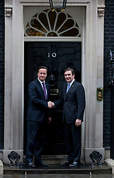 © licensed to London News Pictures. London, UK 18/04/2012. Prime Minister David Cameron meets with Portuguese Prime Minister Pedro Passos Coelho at 10 Downing Street this afternoon. Photo credit: Tolga Akmen/LNP