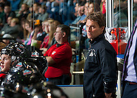 KELOWNA, CANADA - OCTOBER 21: Kelowna Rockets' athletic therapist, Scott Hoyer, stands on the bench against the Tri-City Americans on October 21, 2016 at Prospera Place in Kelowna, British Columbia, Canada.  (Photo by Marissa Baecker/Shoot the Breeze)  *** Local Caption ***