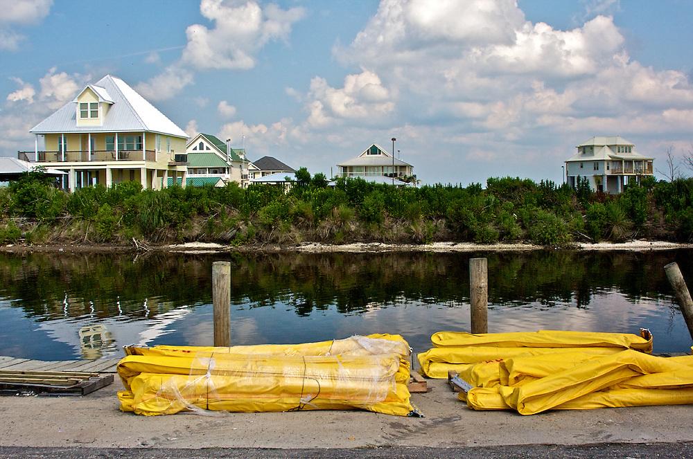 Oil boom on a dock at Shell Beach, St. Bernard Parish, Louisiana