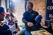 SHOT 12/10/17 12:29:08 PM - Former Buffalo Bills wide receiver and Hall of Fame player Andre Reed signs autographs and meets with fans at LoDo's Bar and Grill in Denver, Co. as the Buffalo Bills played the Indianapolis Colts that Sunday. Reed played wide receiver in the National Football League for 16 seasons, 15 with the Buffalo Bills and one with the Washington Redskins. (Photo by Marc Piscotty / © 2017)