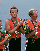 Atlanta, USA,  NED M8+ gold medallist, stroke Nico REINKS and No.7 Ronald FLORIJN, on the awards dock after wiining the final at the 1996, Olympic Rowing Regatta at Lake Lanier, Gainsville Georgia,  [Photo Peter Spurrier/Intersport Images]