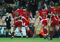 Photo: Paul Thomas.<br /> Port Vale v Bristol City. Coca Cola League 1. 17/12/2005.<br /> <br /> Bristol celebrate Steve Brooker's (9) goal.